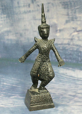 Vintage Small Miniature Cast Bronze Thai Figure Temple Dancer