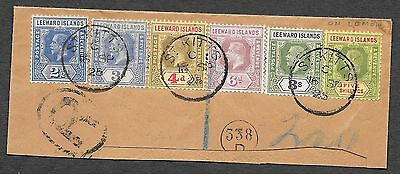 Leeward Islands stamps 1925 6 stamps on R-fragment St.Kitts