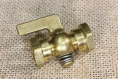 "old brass valve petcock Steam Gas line Engine Tractor 1/8"" both ends FIP vintage"