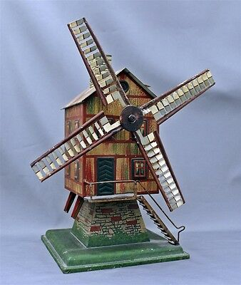 """Antique Tin Lithograph Sand Beach Water Toy Windmill Powerhouse 12"""" Tall Nice"""