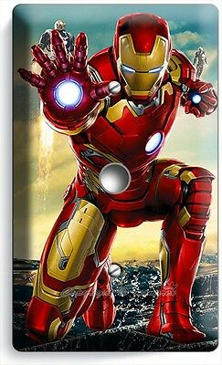 Ironman Superhero Light Dimmer Video Cable Wall Plate Cover Boys Room Iron Man