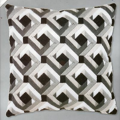 Bargello Black & White Tapestry Canvas Long Stitch Cushion Front Kit, New