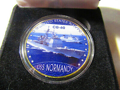 US NAVY - USS NORMANDY - CG-60 Challenge Coin w/ Presentation Box