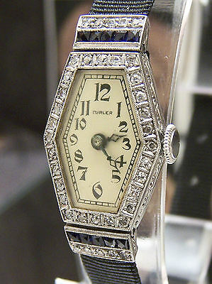 Superb Turler Of Zurich C 1925 Art Deco Solid Platinum Diamond & Sapphire Watch