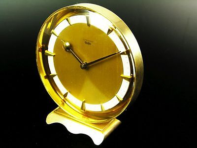 A Small Art Deco Bauhaus Brass Desk Clock Junghans Meister Germany