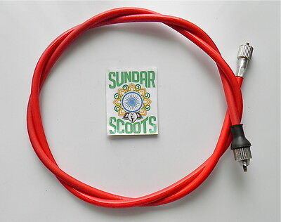 GP,LI,SX & TV COMPLETE 105cm RED CABLE. FOR INDIAN LAMBRETTA  TYPE SPEEDO'S.