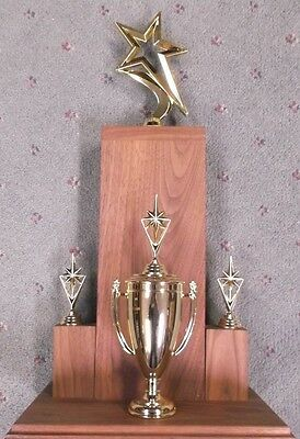 STAR trophy award with shiny cup and star figures solid walnut style