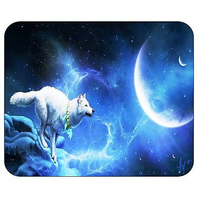 White Wolf And Blue Moon Mousepad Mouse Pad Mat