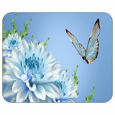 Butterfly On Blue Flower Mousepad Mouse Pad Mat