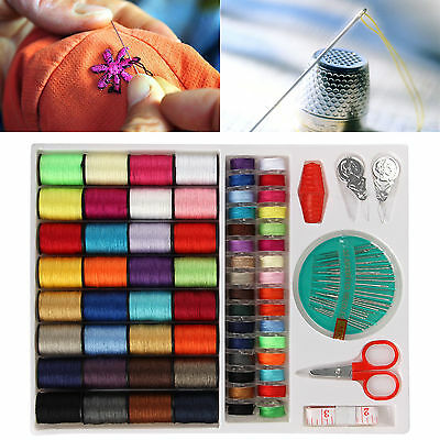 100 Pcs Sewing Kit Thread Threader Needle Tape Measure Scissor Thimble Storage