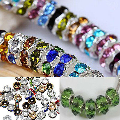 50Pcs 8mm Crystal Loose Spacer Beads Charm For Necklace Bracelet Jewelry Making