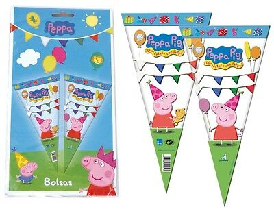 Peppa Pig Large Sweet Cello Cone Loot Bags Birthday Party Length 40cms