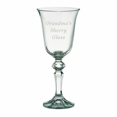 Personalised Port or Sherry Glass with Blue Gift Box, With Any Message Engraved
