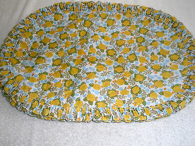 """Set of 4 Vintage Cotton Blend 19"""" Place Mats Yellow Roses Ruffles"""