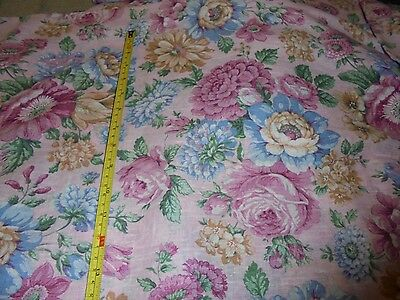 """44x160"""" Ameritex vintage pink giant roses bouquets nubby fabric material chic"""