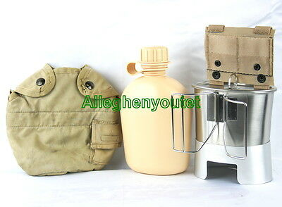 Military TAN CANTEEN SET 1QT CANTEEN w COVER VGC ADAPTER, STOVE, CUP + LID NEW