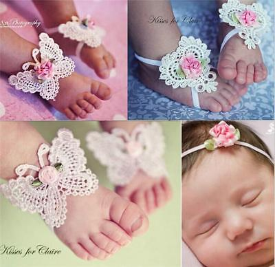 Lovely Baby Foot Bow Flower Headdress 3PCS Baby Hair Band Decorated Headdress Z