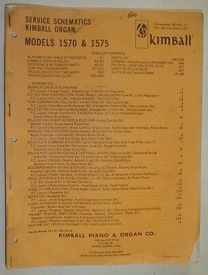 Kimball Model 1570 and 1575 Organ Technical Service Repair Manual Schematics