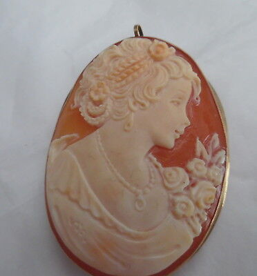 Vintage  9 Ct. European Gold Frame, Shell Cameo Of Young Girl