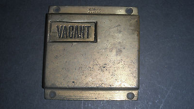 Vintage Brass Engaged / Vacant Lavatory Indicator King's Patent 7350 M & P Lt