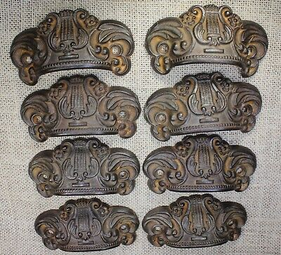 "8 Bin Drawer Pulls handles harp rustic iron 3 7/8"" old antique vintage 1800's"
