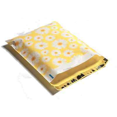 25 10x13 Yellow Daisy Designer Mailers Poly Shipping Envelopes Boutique Bags