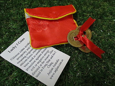 Lucky 3 Gold Prosperity Coins with Red Pouch