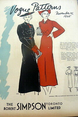 RARE VTG 1930s VOGUE SEWING PATTERN CATALOG 1935