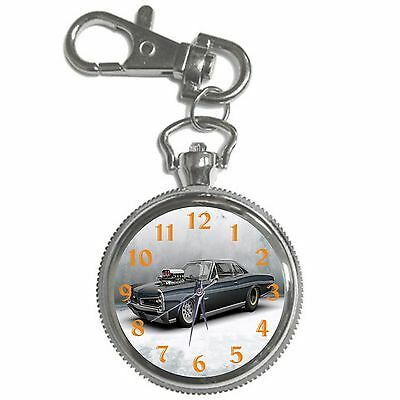 Black Car Silver Key Ring Chain Pocket Watch