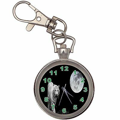 The White Tiger And The Moon Silver Key Ring Chain Pocket Watch