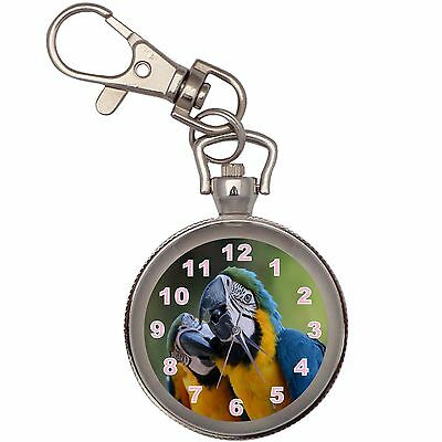 Two Parrots Silver Key Ring Chain Pocket Watch