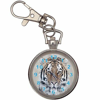 Tiger Portrait Silver Key Ring Chain Pocket Watch
