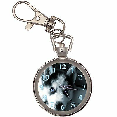 Husky Puppy Silver Key Ring Chain Pocket Watch