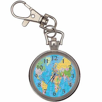 World Map Silver Key Ring Chain Pocket Watch