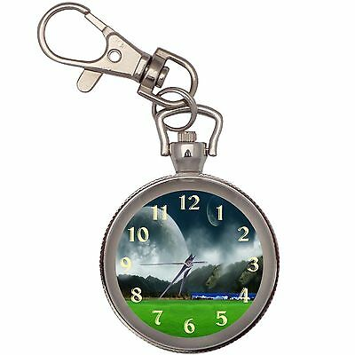 Two Moons Silver Key Ring Chain Pocket Watch
