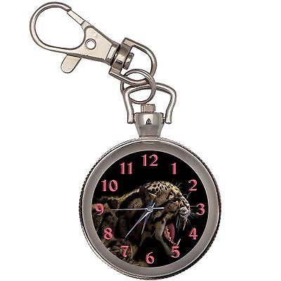 Angry Jaguar Silver Key Ring Chain Pocket Watch