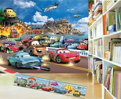 €4,33/m2 CARS Kinder Fototapete+BORDÜRE Tapete Zimmer Poster McQueen Autos Mack