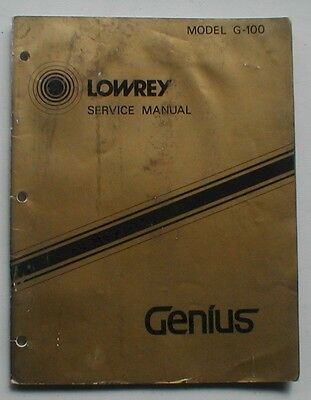 Lowrey G-100 G100 Genius Organ Technical Service Repair Manual Schematics Part L