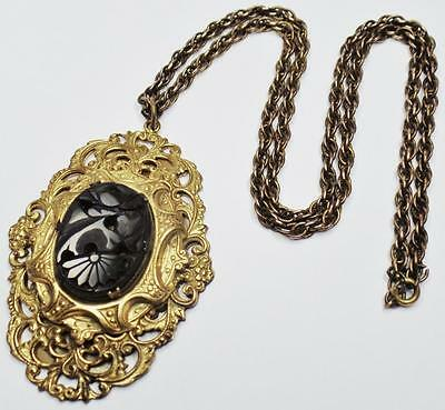 Antique Victorian Carved French Jet Ornate Tiered Gold Plate Pendant Necklace