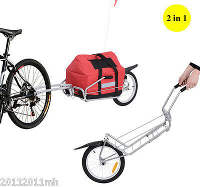 Aosom Cargo Carrier Bicycle Trailer 2 in 1 functional Single Wheel Trailer