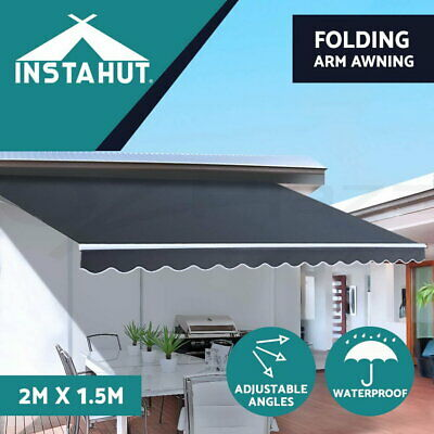Instahut 4M x 3M Outdoor Folding Arm Awning Retractable Sunshade Canopy Grey