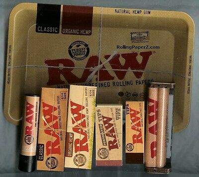 1 1/4 Size RAW ROLLING BUNDLE - TRAY+ CLASSIC & HEMP PAPERS+TIPS+MACHINE+LIGHTER