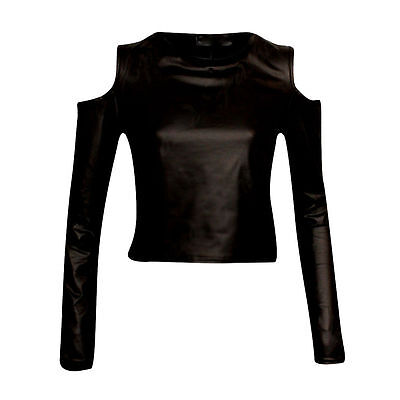 NEW BLACK  LEATHER LOOK CUT OUT COLD SHOUDER CROP TOP will fit size 8-14