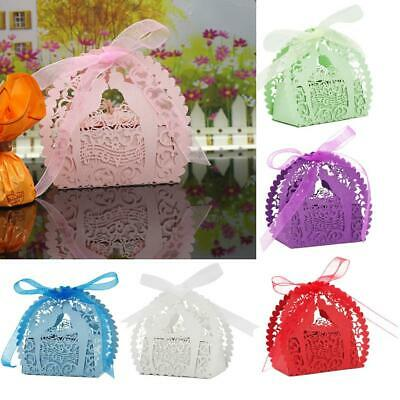 20x Hollow Out Laser Cut Candy Box Wedding Shower Party Gift Favor Bag w/ Ribbon
