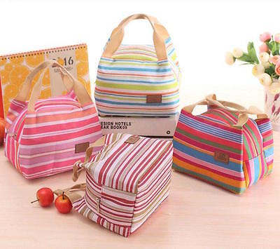 Small Stripe Handbag Style Lunch / Cool Bag Box Canvas Thermal Food Drink Holder