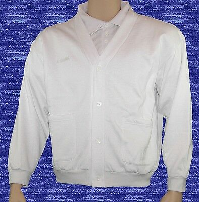 CATHEDRAL Mens Jersey Fleece White Soft Fabric Button Up Cardigan Ex Display