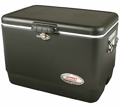 NEW! COLEMAN Camping Tailgating 54 Quart Stainless Steel Belted Ice Chest Cooler