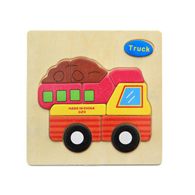 Wooden Cartoon Truck Blocks Toddler Baby Kids Child Educational Toy Puzzle