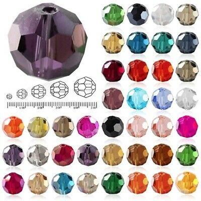 50/72/100/150pcs Crystal Beads Facted Round Fit Necklace Jewelry 3/6/8/10/12mm