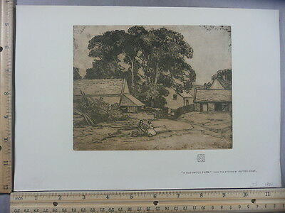 Rare Antique Original VTG Cotswold Farm From Etching Alfred East Litho Art Print